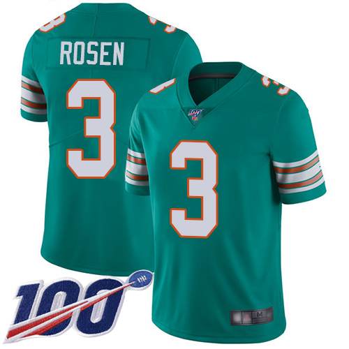 Cheap Nike Miami Dolphins 3 Josh Rosen Aqua Green Alternate Men Stitched NFL 100th Season Vapor Limited Jersey
